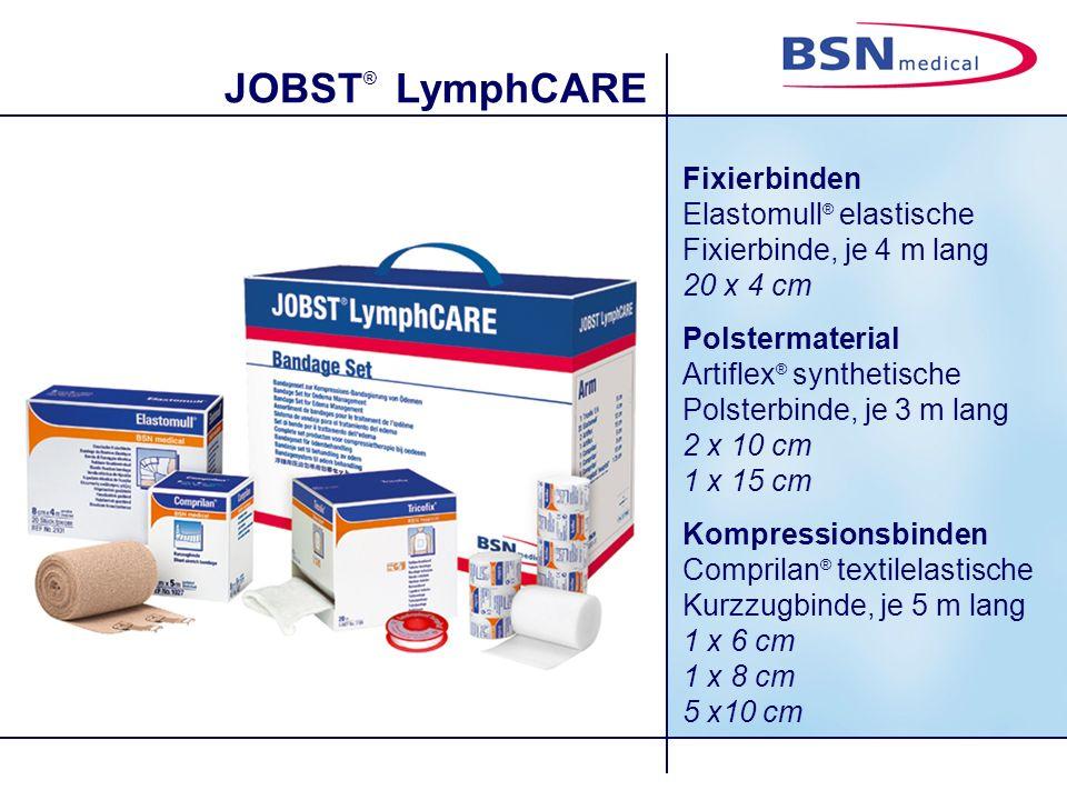 JOBST ® LymphCARE Lagerung des Patienten: Der Patient sitzt, der zu versorgende Arm wird durch ein festes Polster unterstützt.