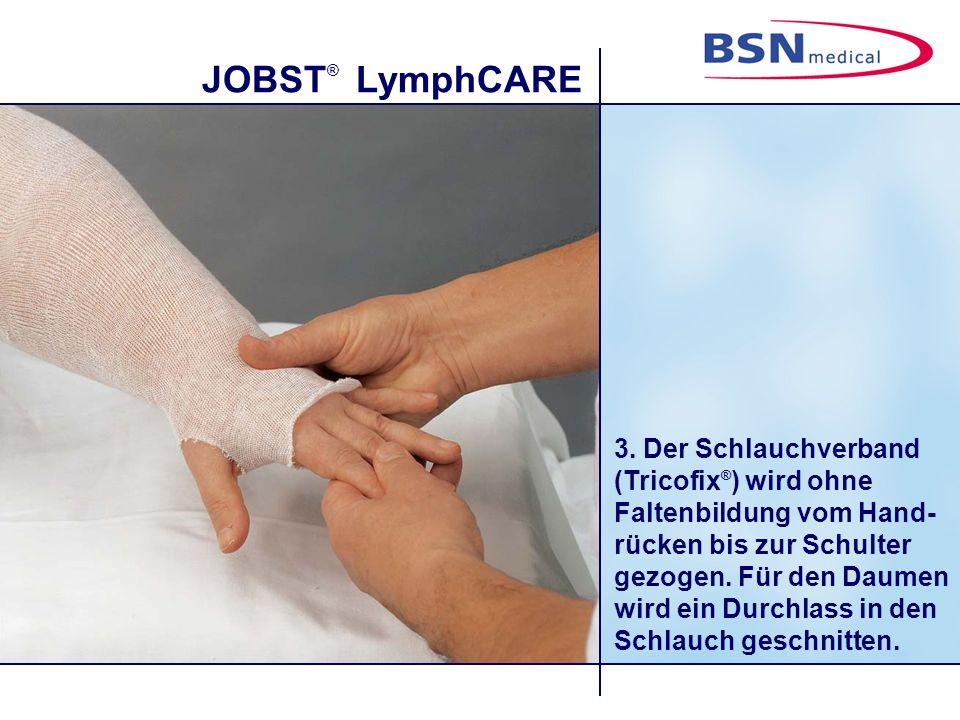 JOBST ® LymphCARE 14. Die Touren verlaufen vom Handrücken zur Handfläche und wieder zum Handrücken.