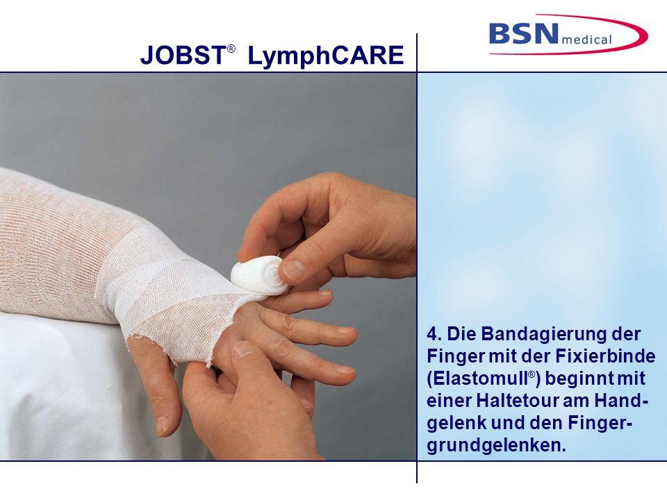 JOBST ® LymphCARE 15. Nach einer Tour über das Daumenmittelgelenk den Bindenrand festhalten.