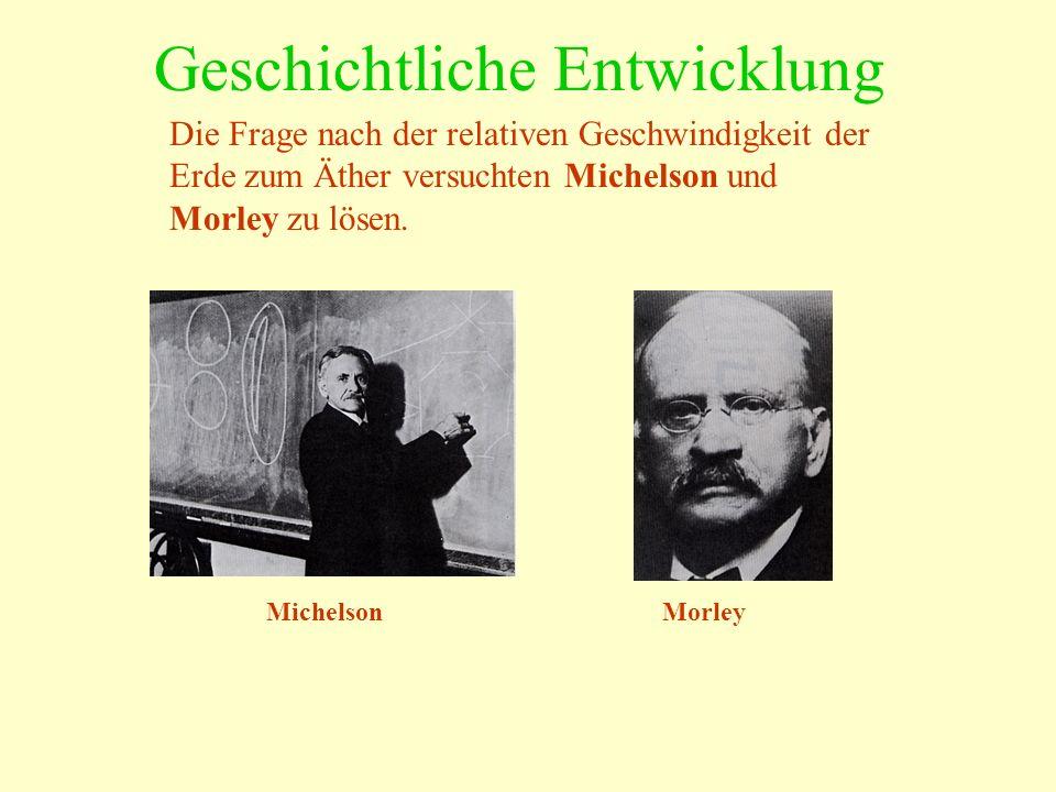 Geschichtliche Entwicklung Die Frage nach der relativen Geschwindigkeit der Erde zum Äther versuchten Michelson und Morley zu lösen. MichelsonMorley