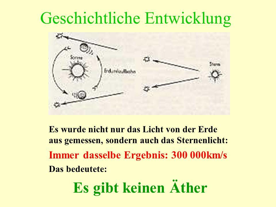 Geschichtliche Entwicklung Es wurde nicht nur das Licht von der Erde aus gemessen, sondern auch das Sternenlicht: Immer dasselbe Ergebnis: 300 000km/s