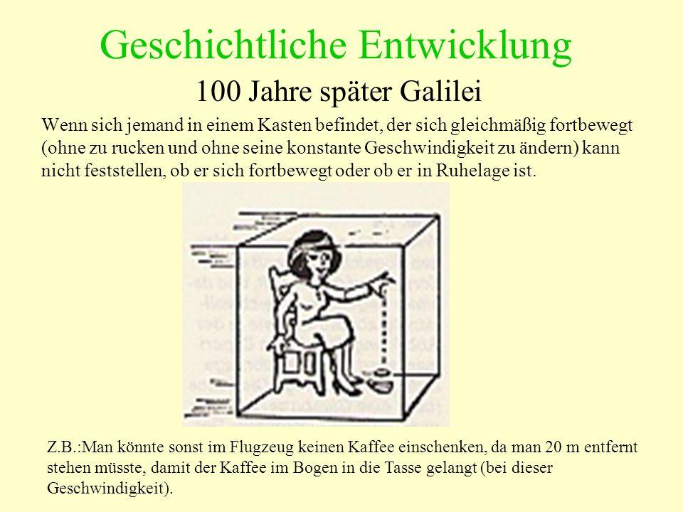 Geschichtliche Entwicklung Galilei behauptete: Selbst wenn im Kasten ein Loch wäre und man einen sich nähernden Kasten sieht, kann man nicht sagen, ob der eigene Kasten sich bewegt oder der andere.