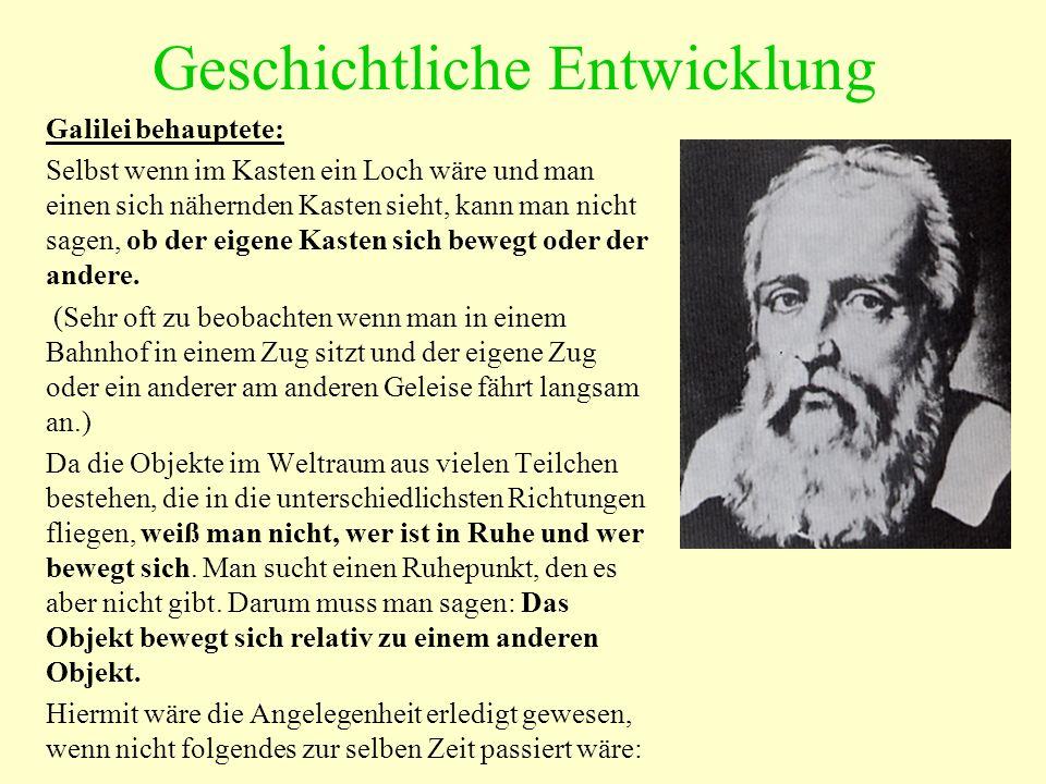 Geschichtliche Entwicklung Galilei behauptete: Selbst wenn im Kasten ein Loch wäre und man einen sich nähernden Kasten sieht, kann man nicht sagen, ob