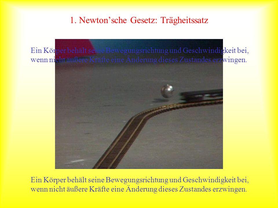 1. Newtonsche Gesetz: Trägheitssatz Ein Körper behält seine Bewegungsrichtung und Geschwindigkeit bei, wenn nicht äußere Kräfte eine Änderung dieses Z