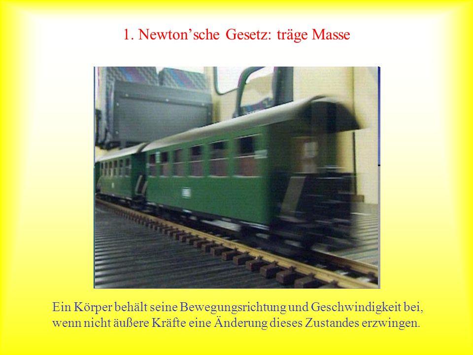 1. Newtonsche Gesetz: träge Masse Ein Körper behält seine Bewegungsrichtung und Geschwindigkeit bei, wenn nicht äußere Kräfte eine Änderung dieses Zus