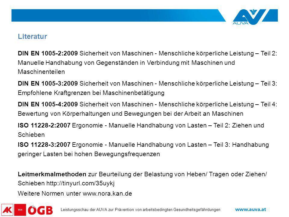 Datum Leistungsschau der AUVA zur Prävention von arbeitsbedingten Gesundheitsgefährdungen DIN EN 1005-2:2009 Sicherheit von Maschinen - Menschliche kö