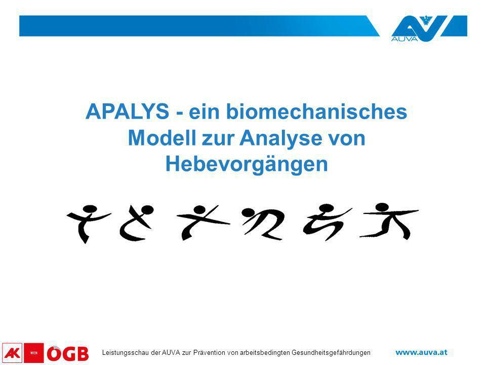 Datum Leistungsschau der AUVA zur Prävention von arbeitsbedingten Gesundheitsgefährdungen APALYS - ein biomechanisches Modell zur Analyse von Hebevorg