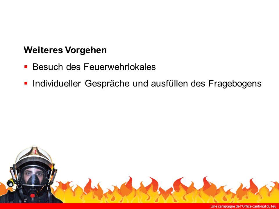 Une campagne de lOffice cantonal du feu Weiteres Vorgehen Besuch des Feuerwehrlokales Individueller Gespräche und ausfüllen des Fragebogens