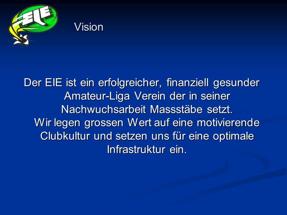 Vision Der EIE ist ein erfolgreicher, finanziell gesunder Amateur-Liga Verein der in seiner Nachwuchsarbeit Massstäbe setzt. Wir legen grossen Wert au