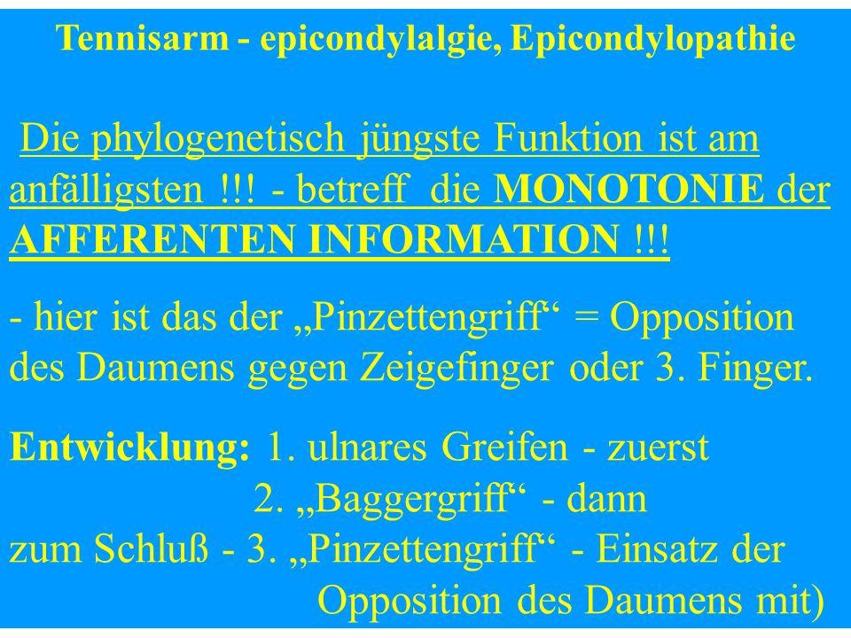Tennisarm - epicondylalgie, Epicondylopathie Die phylogenetisch jüngste Funktion ist am anfälligsten !!! - betreff die MONOTONIE der AFFERENTEN INFORM