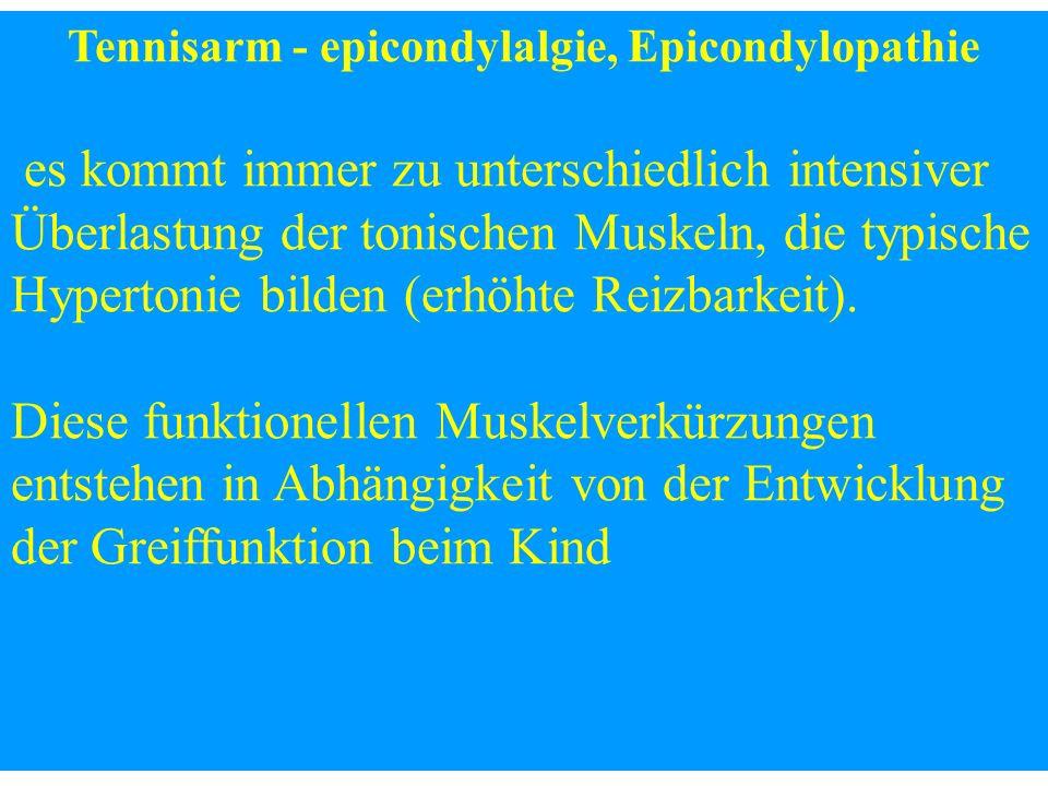 Tennisarm - epicondylalgie, Epicondylopathie es kommt immer zu unterschiedlich intensiver Überlastung der tonischen Muskeln, die typische Hypertonie b