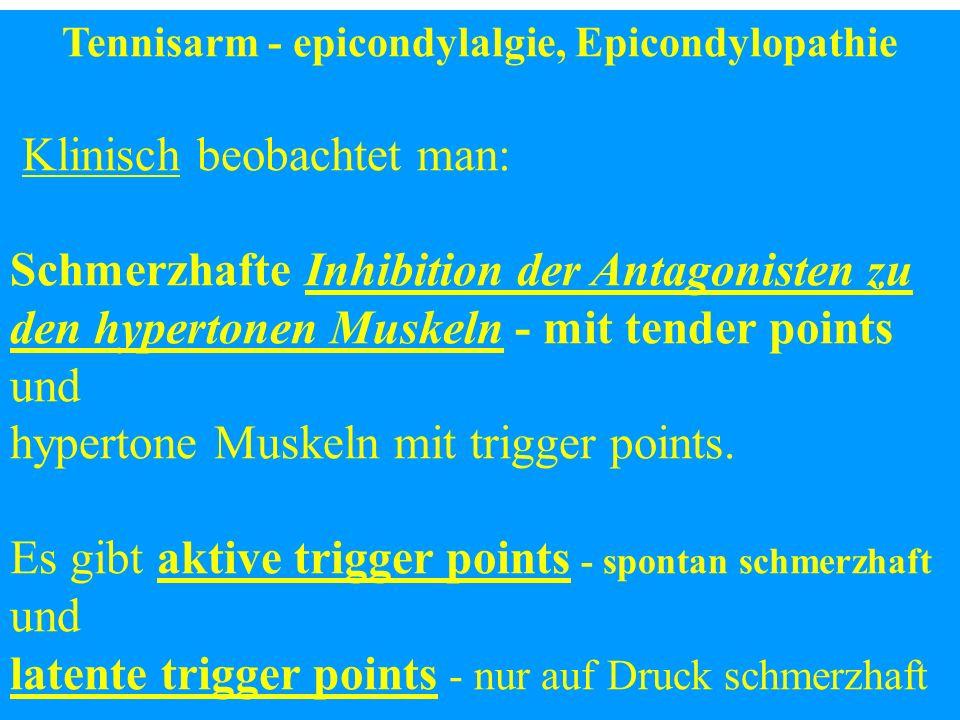 Tennisarm - epicondylalgie, Epicondylopathie Klinisch beobachtet man: Schmerzhafte Inhibition der Antagonisten zu den hypertonen Muskeln - mit tender
