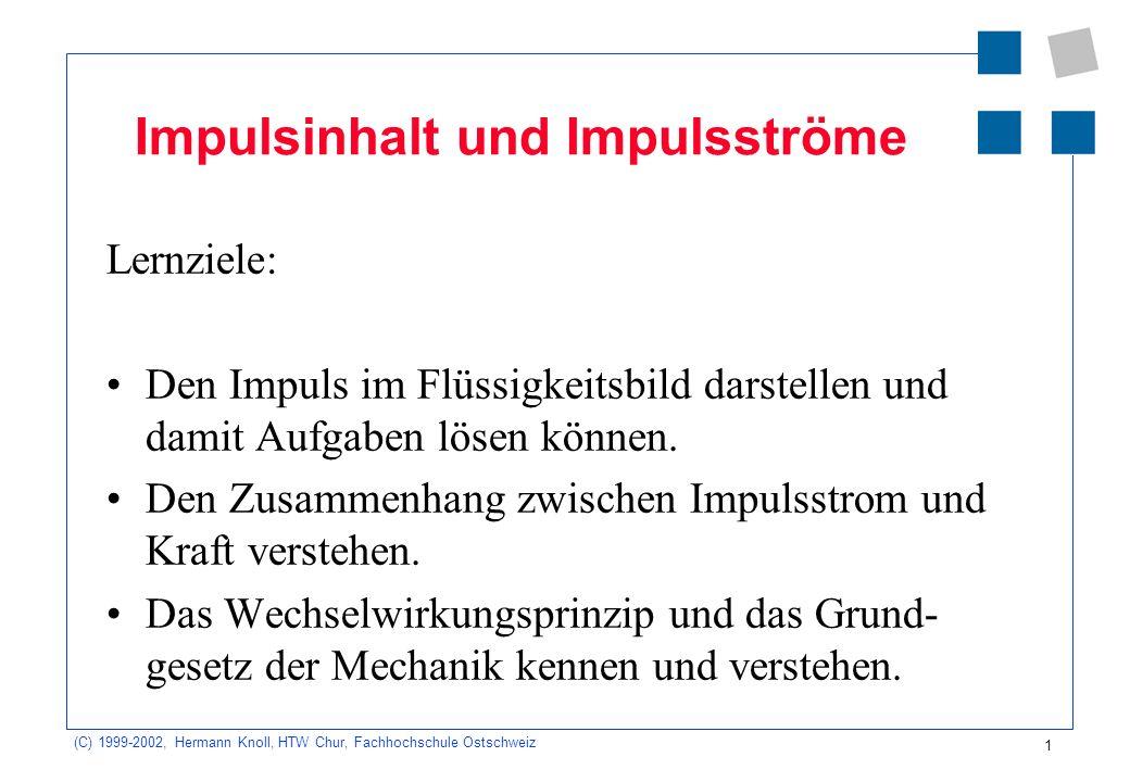 (C) 1999-2002, Hermann Knoll, HTW Chur, Fachhochschule Ostschweiz 1 Impulsinhalt und Impulsströme Lernziele: Den Impuls im Flüssigkeitsbild darstellen und damit Aufgaben lösen können.