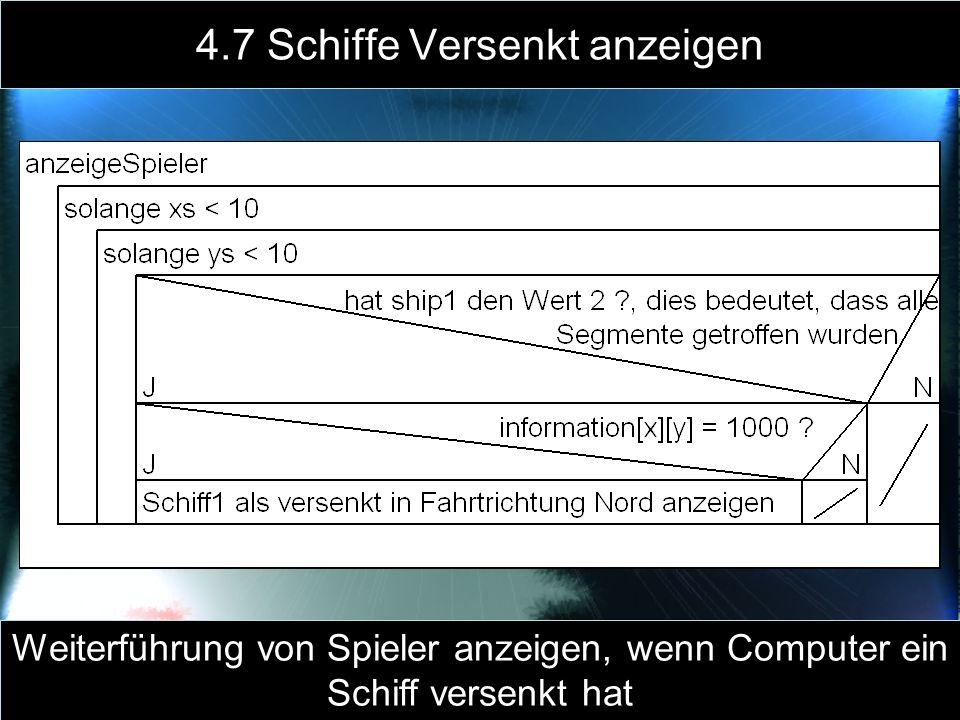 4.7 Schiffe Versenkt anzeigen Weiterführung von Spieler anzeigen, wenn Computer ein Schiff versenkt hat