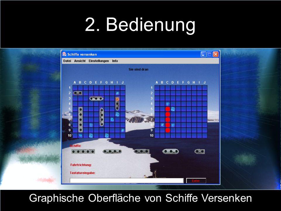 2. Bedienung Graphische Oberfläche von Schiffe Versenken