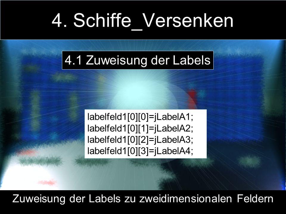 4. Schiffe_Versenken labelfeld1[0][0]=jLabelA1; labelfeld1[0][1]=jLabelA2; labelfeld1[0][2]=jLabelA3; labelfeld1[0][3]=jLabelA4; Zuweisung der Labels