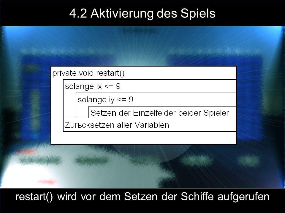 4.2 Aktivierung des Spiels restart() wird vor dem Setzen der Schiffe aufgerufen
