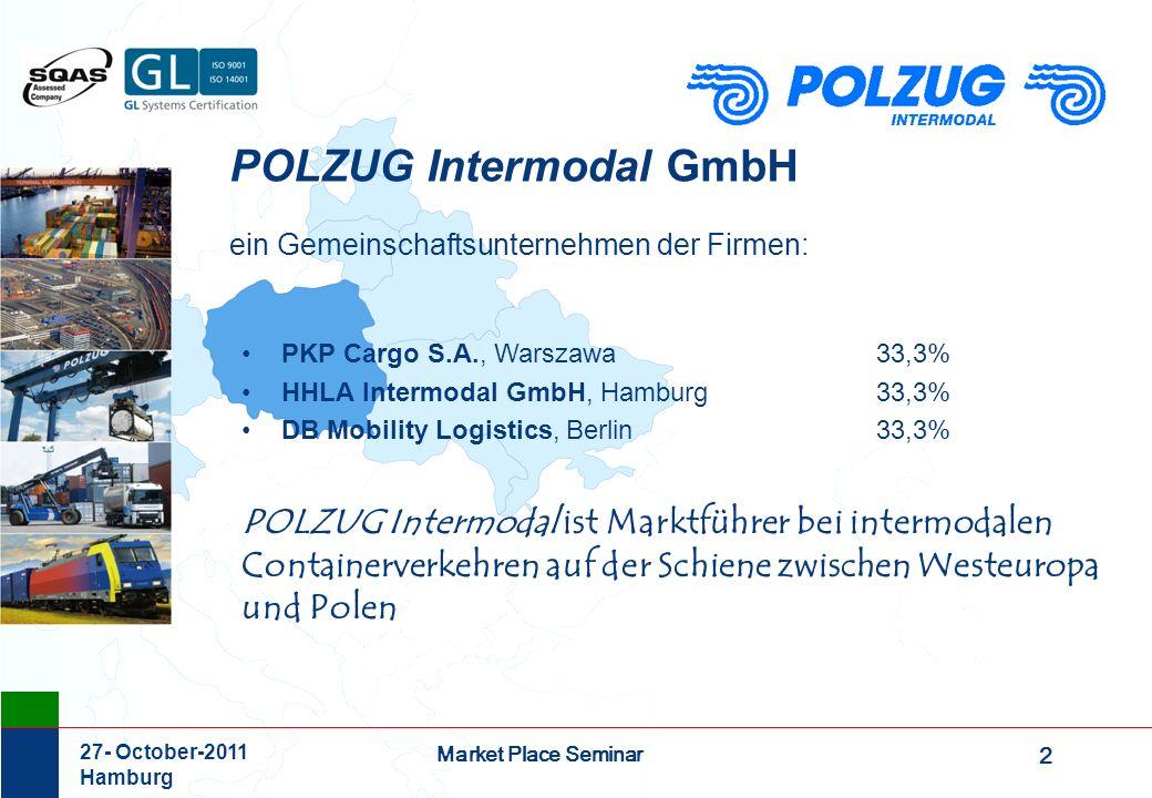 2 Market Place Seminar 27- October-2011 Hamburg POLZUG Intermodal GmbH ein Gemeinschaftsunternehmen der Firmen: PKP Cargo S.A., Warszawa 33,3% HHLA In