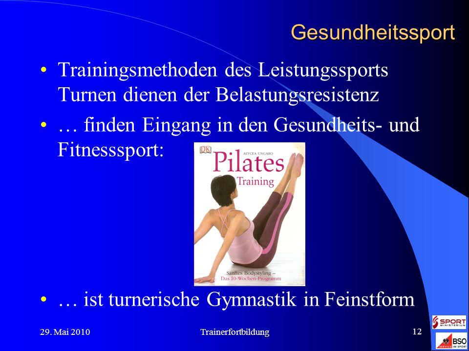 29. Mai 2010Trainerfortbildung 12 Gesundheitssport Trainingsmethoden des Leistungssports Turnen dienen der Belastungsresistenz … finden Eingang in den