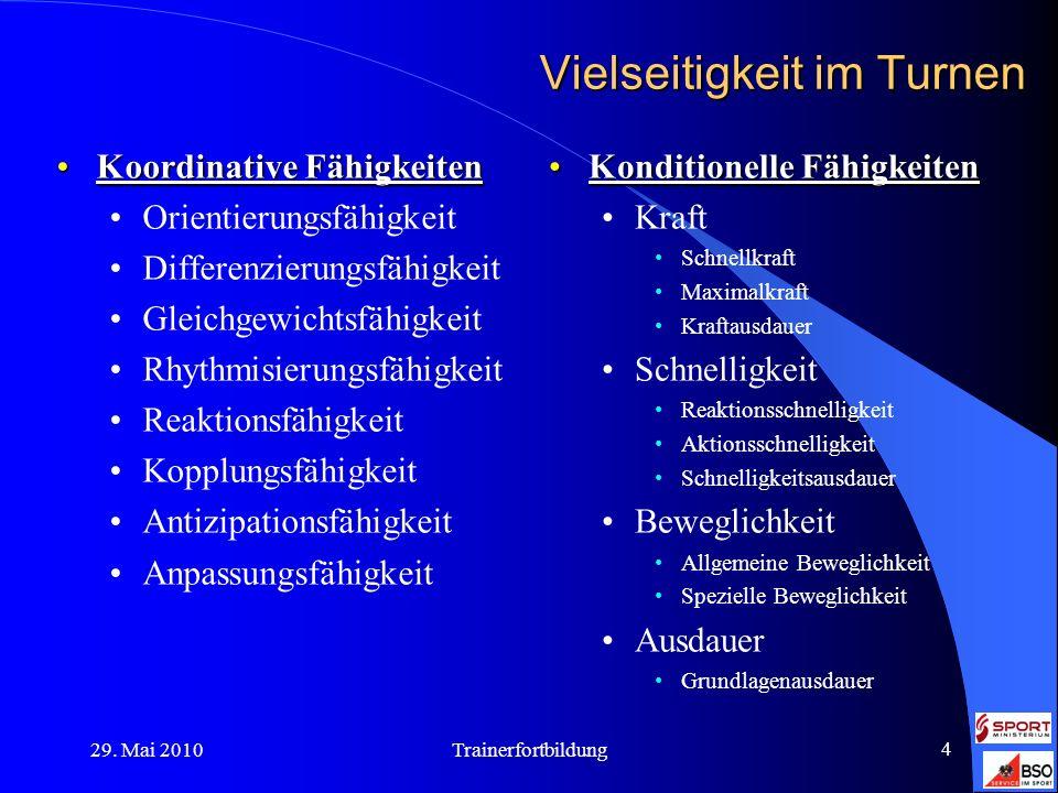29. Mai 2010Trainerfortbildung 4 Vielseitigkeit im Turnen Koordinative FähigkeitenKoordinative Fähigkeiten Orientierungsfähigkeit Differenzierungsfähi