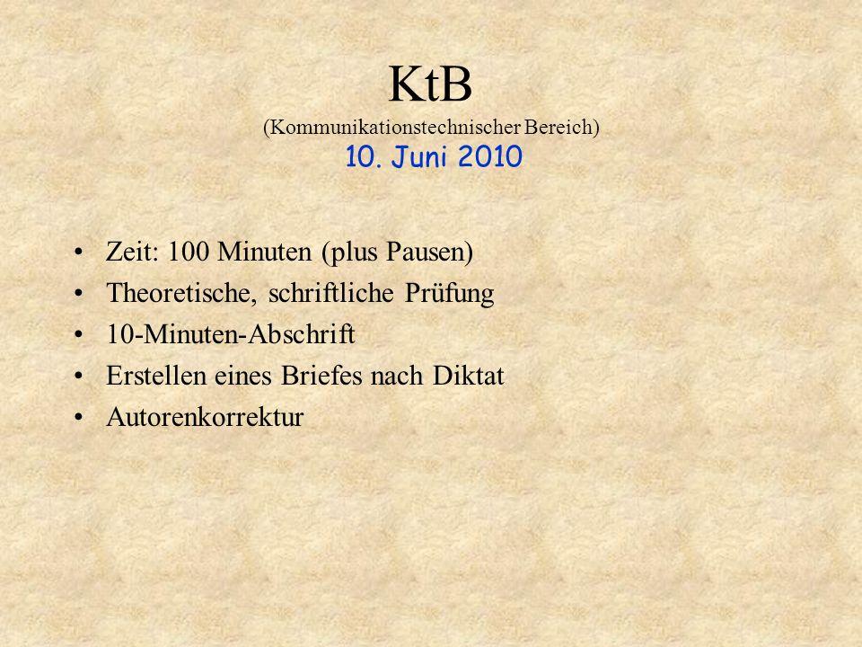 KtB (Kommunikationstechnischer Bereich) 10. Juni 2010 Zeit: 100 Minuten (plus Pausen) Theoretische, schriftliche Prüfung 10-Minuten-Abschrift Erstelle