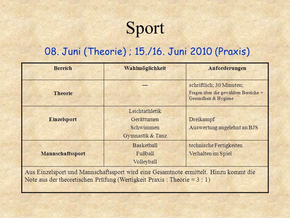 Sport 08. Juni (Theorie) ; 15./16. Juni 2010 (Praxis) BereichWahlmöglichkeitAnforderungen Theorie ---schriftlich; 30 Minuten; Fragen über die gewählte