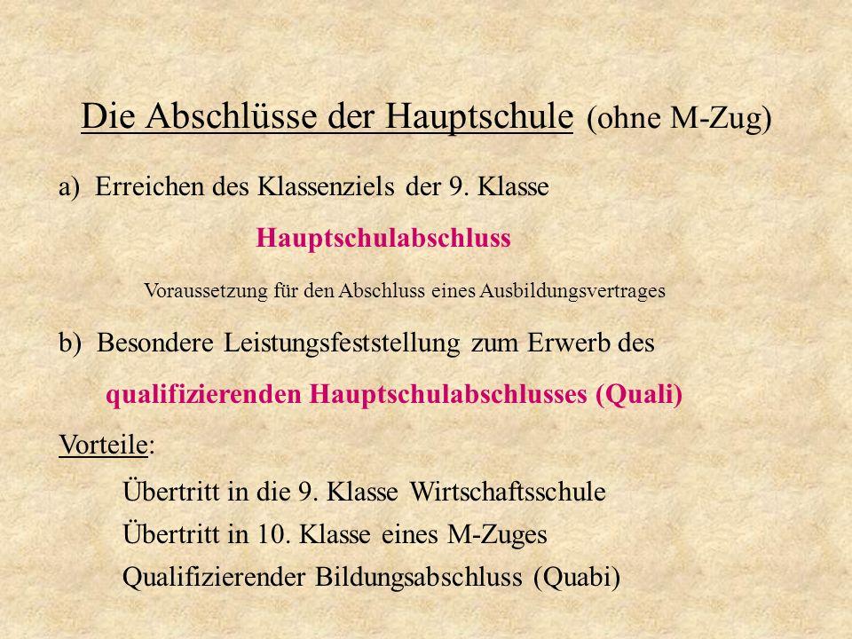 Die Prüfungsfächer A.Pflichtfächer: - Deutsch - Mathematik - Arbeit-Wirtschaft-Technik (AWT) B.