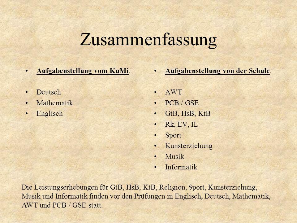 Zusammenfassung Aufgabenstellung vom KuMi: Deutsch Mathematik Englisch Aufgabenstellung von der Schule: AWT PCB / GSE GtB, HsB, KtB Rk, EV, IL Sport K