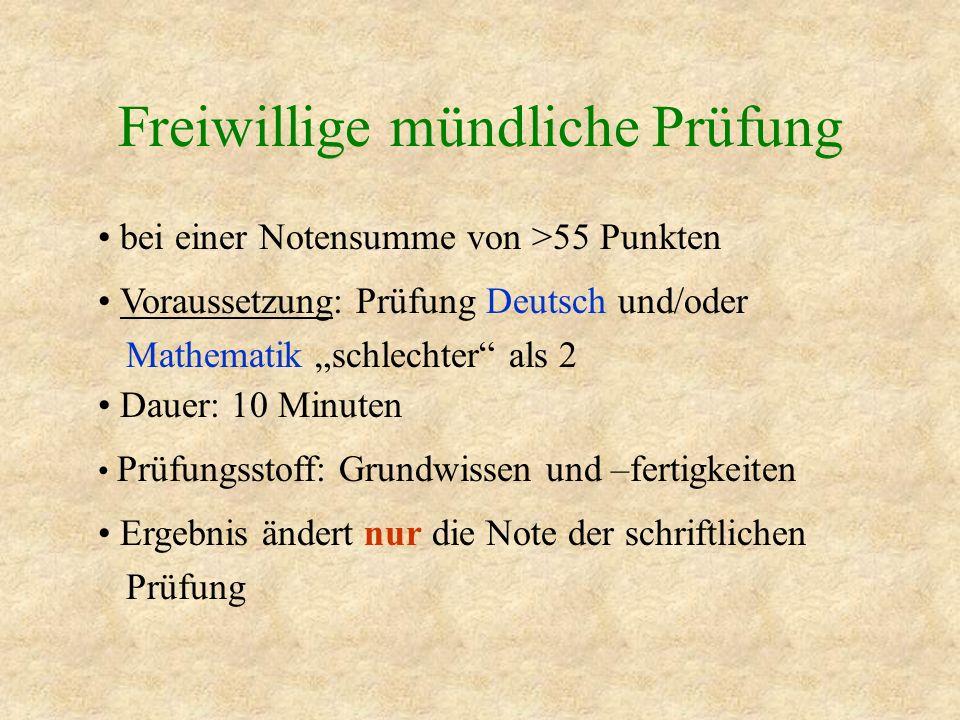 Freiwillige mündliche Prüfung bei einer Notensumme von >55 Punkten Voraussetzung: Prüfung Deutsch und/oder Mathematik schlechter als 2 Dauer: 10 Minut