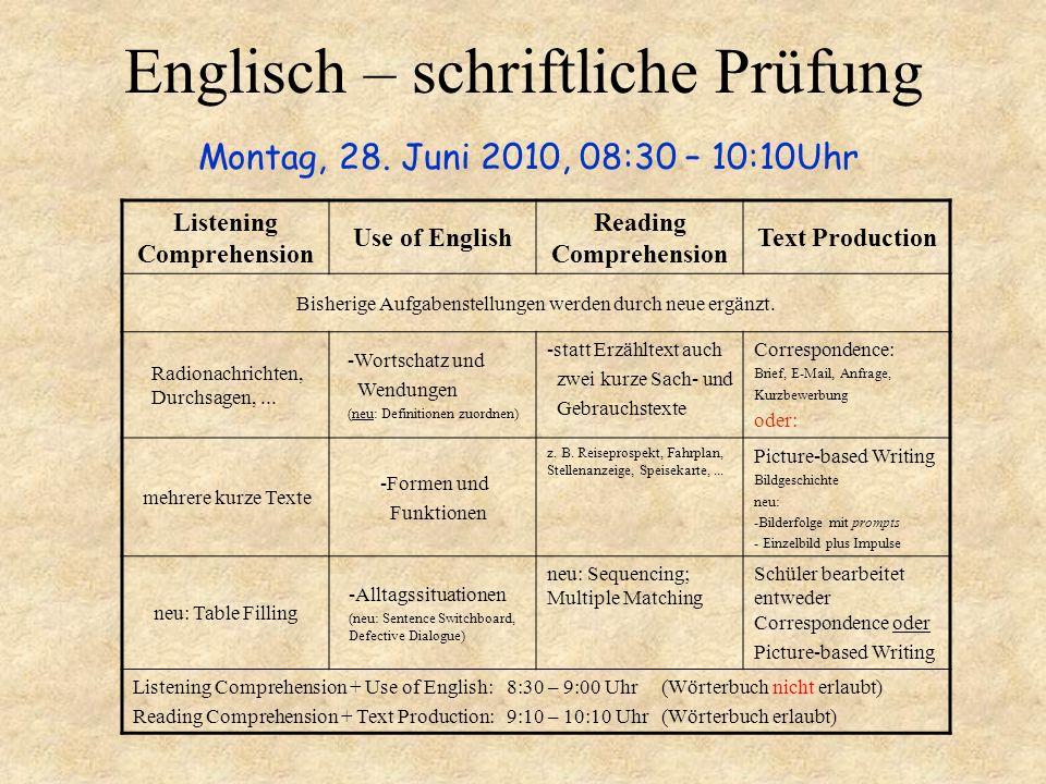 Englisch – schriftliche Prüfung Montag, 28. Juni 2010, 08:30 – 10:10Uhr Listening Comprehension Use of English Reading Comprehension Text Production B