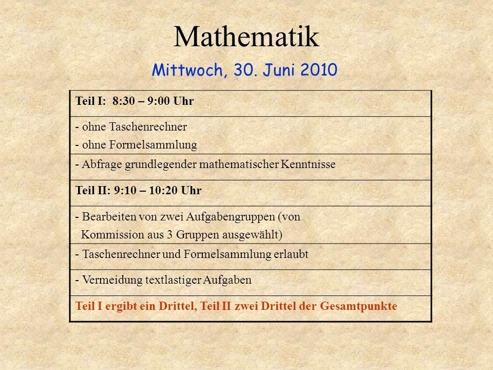 Mathematik Mittwoch, 30. Juni 2010 Teil I: 8:30 – 9:00 Uhr - ohne Taschenrechner - ohne Formelsammlung - Abfrage grundlegender mathematischer Kenntnis