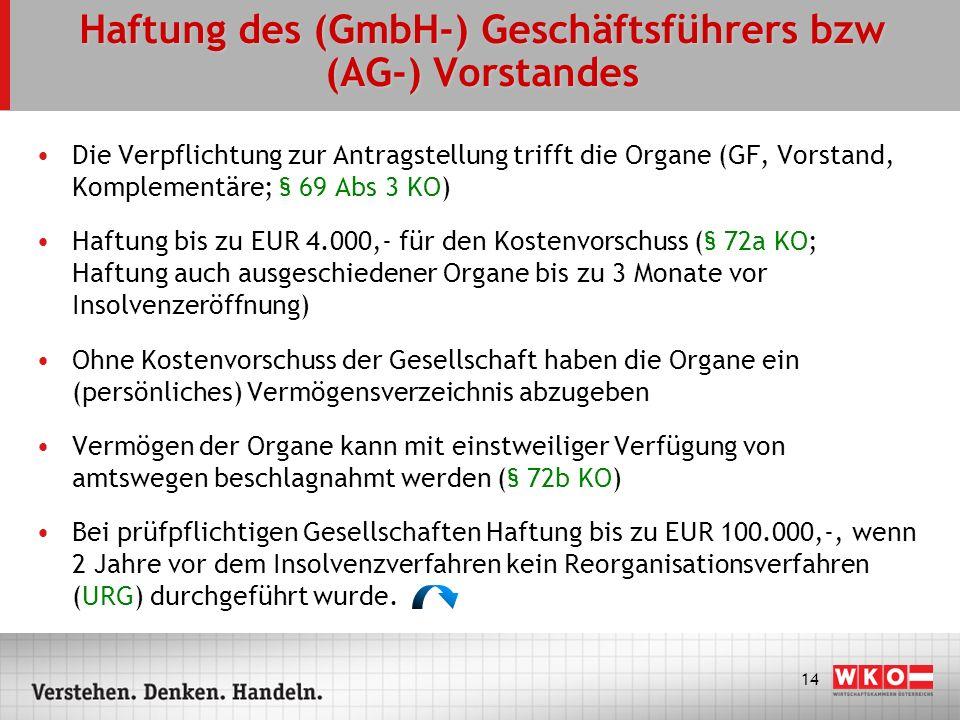 14 Haftung des (GmbH-) Geschäftsführers bzw (AG-) Vorstandes Die Verpflichtung zur Antragstellung trifft die Organe (GF, Vorstand, Komplementäre; § 69