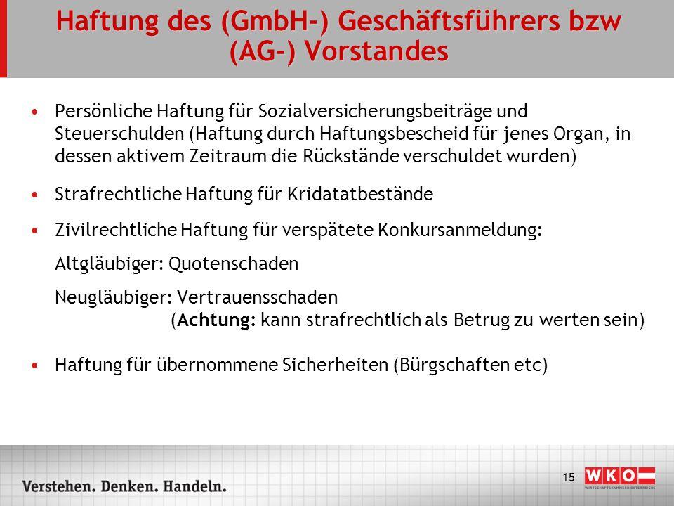15 Haftung des (GmbH-) Geschäftsführers bzw (AG-) Vorstandes Persönliche Haftung für Sozialversicherungsbeiträge und Steuerschulden (Haftung durch Haf