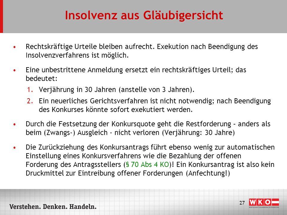 28 Sanierung des Unternehmens im Konkurs Zweck des Konkurses: Veräußerung des Unternehmens bzw der Unternehmensbestandteile Kauf aus der Konkursmasse erfolgt schuldenfrei (keine Haftung gemäß § 1409 ABGB, § 38 UGB, § 14 BAO, § 67 ASVG oder AVRAG) Kauf des Unternehmens durch die eigene Nachfolge-GmbH möglich, da Konkurseröffnung kein Gewerbeausschlussgrund mehr ist (§ 13 GewO) In der Praxis nur sinnvoll mit genauer Planung und Begleitung durch Unternehmensberater/Anwalt KC-Merkblatt: Auffanggesellschaft–Ein Weg aus der Unternehmenskrise?