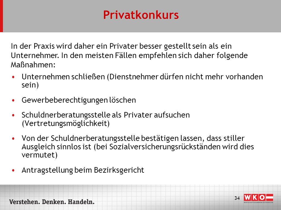 34 Privatkonkurs Unternehmen schließen (Dienstnehmer dürfen nicht mehr vorhanden sein) Gewerbeberechtigungen löschen Schuldnerberatungsstelle als Priv