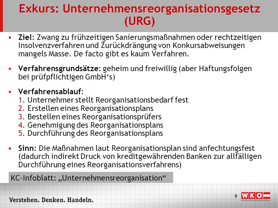 9 Exkurs: Unternehmensreorganisationsgesetz (URG) Ziel: Zwang zu frühzeitigen Sanierungsmaßnahmen oder rechtzeitigen Insolvenzverfahren und Zurückdrän