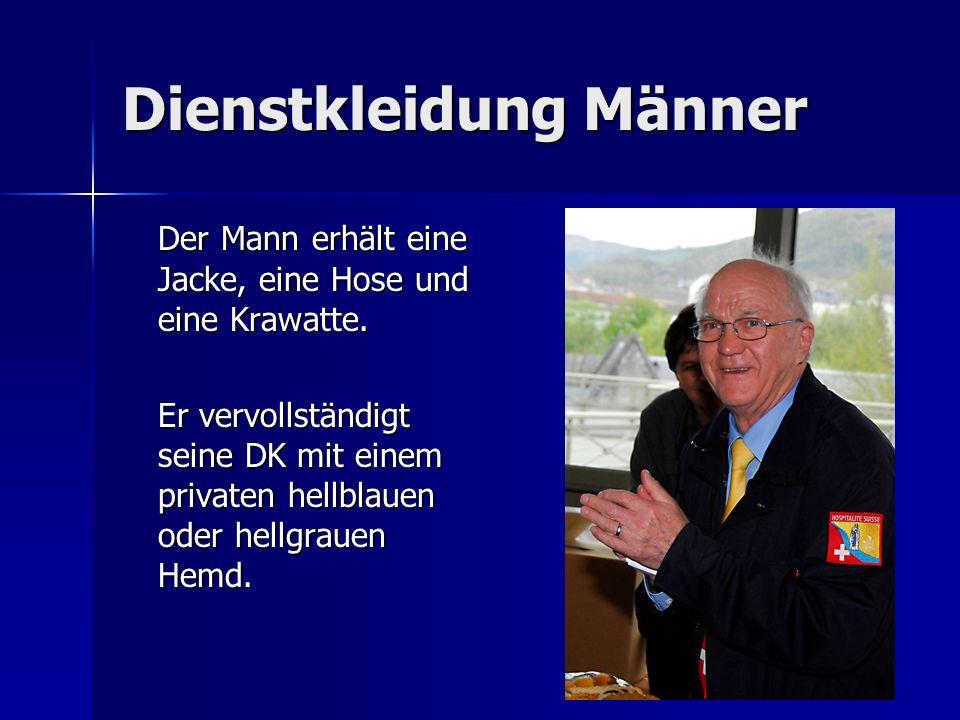 Dienstkleidung Männer Der Mann erhält eine Jacke, eine Hose und eine Krawatte. Er vervollständigt seine DK mit einem privaten hellblauen oder hellgrau