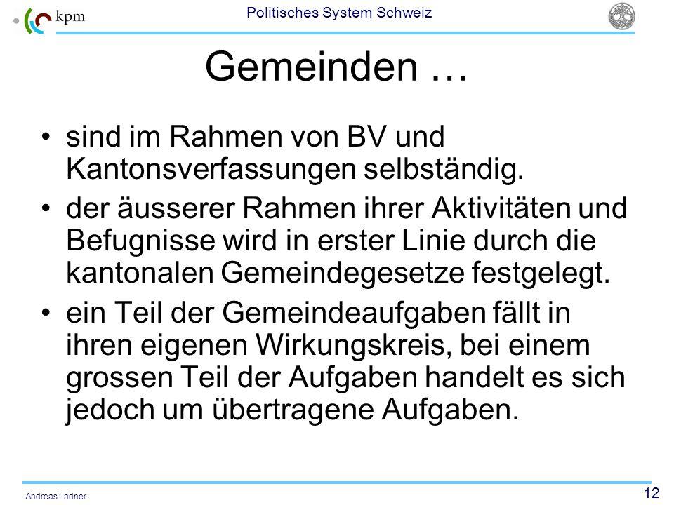 12 Politisches System Schweiz Andreas Ladner Gemeinden … sind im Rahmen von BV und Kantonsverfassungen selbständig. der äusserer Rahmen ihrer Aktivitä