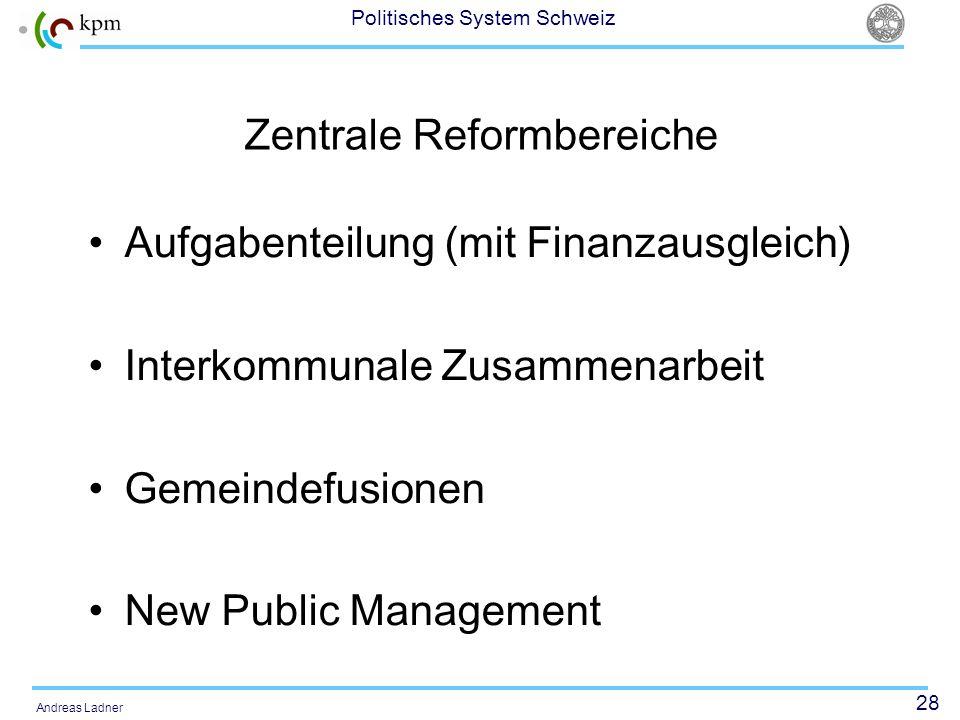 28 Politisches System Schweiz Andreas Ladner Zentrale Reformbereiche Aufgabenteilung (mit Finanzausgleich) Interkommunale Zusammenarbeit Gemeindefusio