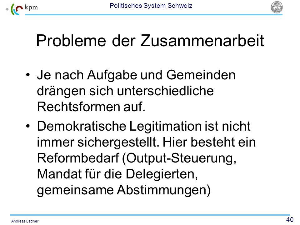 40 Politisches System Schweiz Andreas Ladner Probleme der Zusammenarbeit Je nach Aufgabe und Gemeinden drängen sich unterschiedliche Rechtsformen auf.