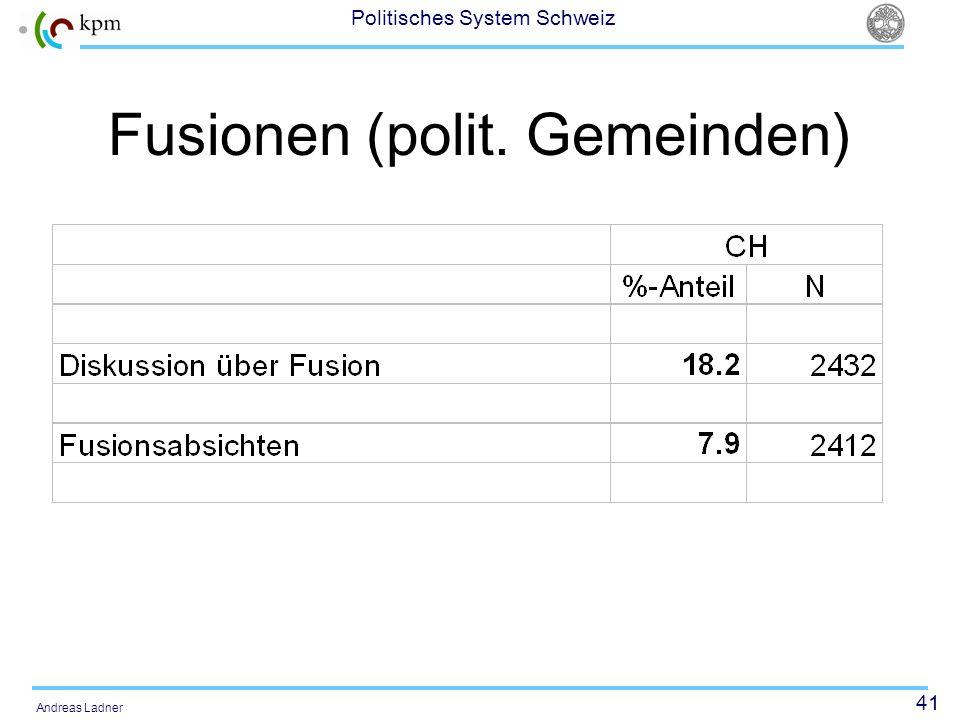 41 Politisches System Schweiz Andreas Ladner Fusionen (polit. Gemeinden)