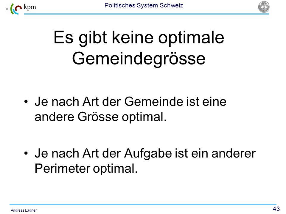 43 Politisches System Schweiz Andreas Ladner Es gibt keine optimale Gemeindegrösse Je nach Art der Gemeinde ist eine andere Grösse optimal. Je nach Ar