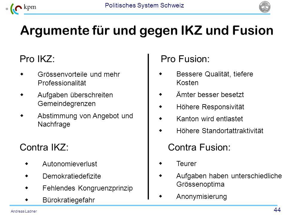 44 Politisches System Schweiz Andreas Ladner Grössenvorteile und mehr Professionalität Aufgaben überschreiten Gemeindegrenzen Abstimmung von Angebot u
