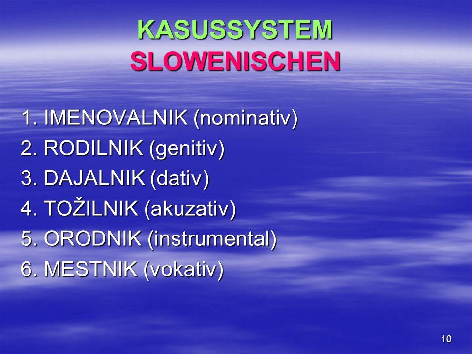 10 KASUSSYSTEM SLOWENISCHEN 1. IMENOVALNIK (nominativ) 2. RODILNIK (genitiv) 3. DAJALNIK (dativ) 4. TOŽILNIK (akuzativ) 5. ORODNIK (instrumental) 6. M