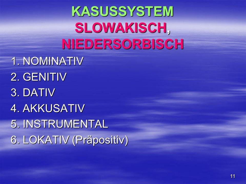 11 KASUSSYSTEM SLOWAKISCH, NIEDERSORBISCH 1. NOMINATIV 2. GENITIV 3. DATIV 4. AKKUSATIV 5. INSTRUMENTAL 6. LOKATIV (Präpositiv)