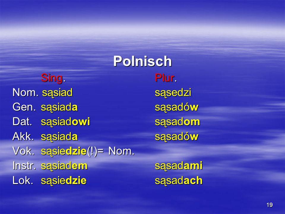 19 Polnisch Sing. Plur. Nom. sąsiad sąsedzi Gen. sąsiada sąsadów Dat. sąsiadowi sąsadom Akk. sąsiada sąsadów Vok. sąsiedzie(!)= Nom. Instr. sąsiadem s