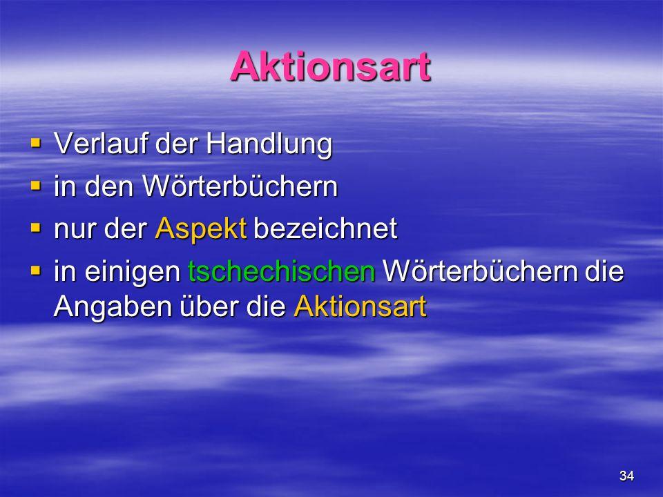 34 Aktionsart Verlauf der Handlung Verlauf der Handlung in den Wörterbüchern in den Wörterbüchern nur der Aspekt bezeichnet nur der Aspekt bezeichnet