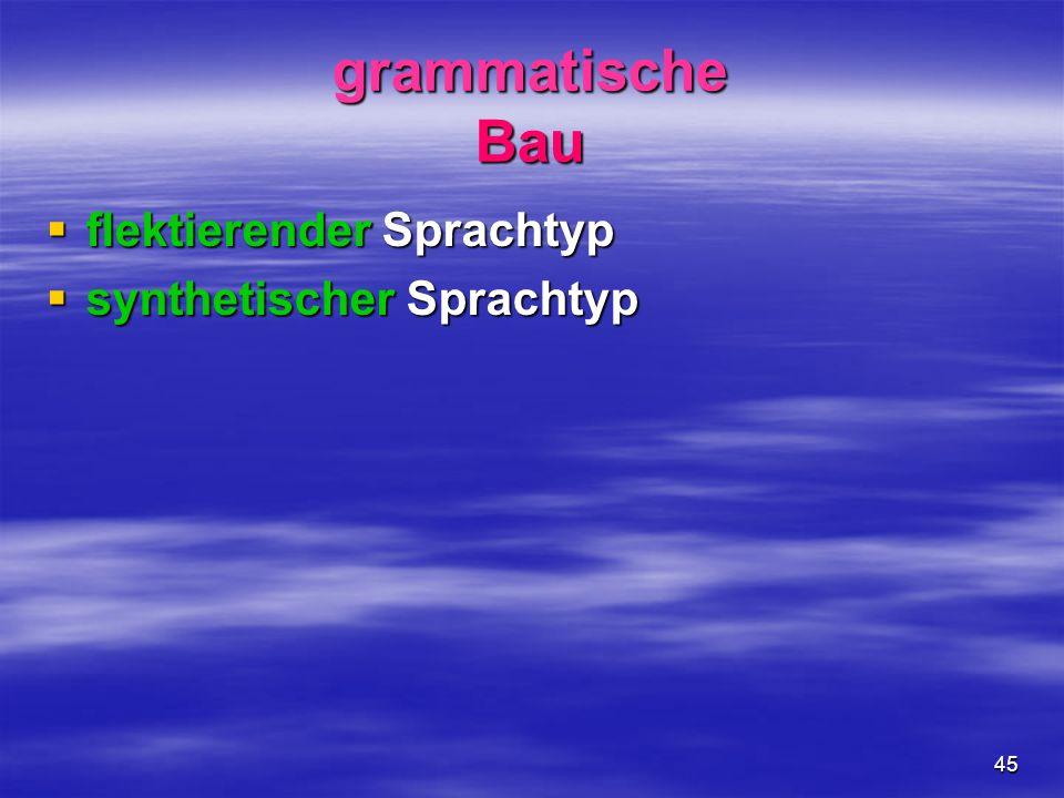 45 grammatische Bau flektierender Sprachtyp flektierender Sprachtyp synthetischer Sprachtyp synthetischer Sprachtyp