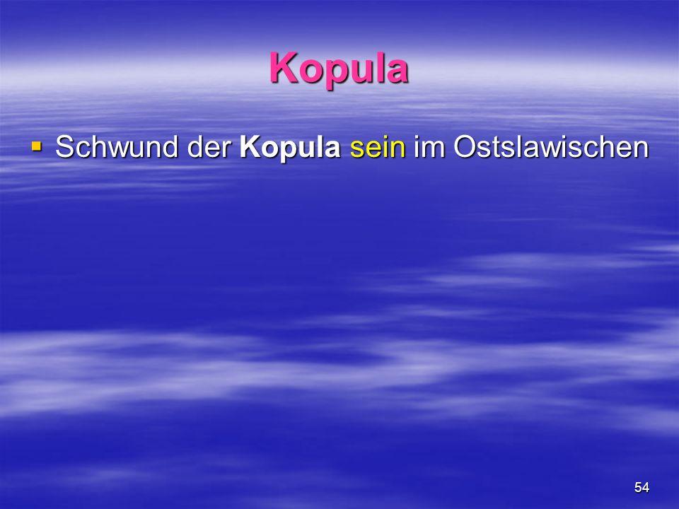 54 Kopula Schwund der Kopula sein im Ostslawischen Schwund der Kopula sein im Ostslawischen