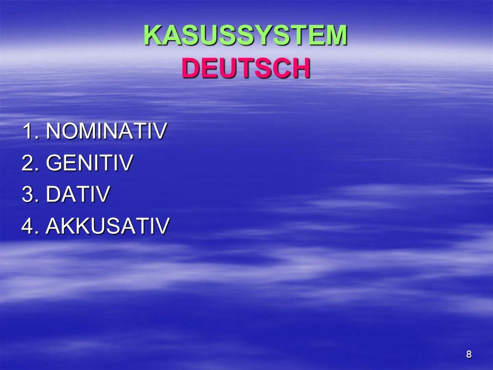 8 KASUSSYSTEM DEUTSCH 1. NOMINATIV 2. GENITIV 3. DATIV 4. AKKUSATIV